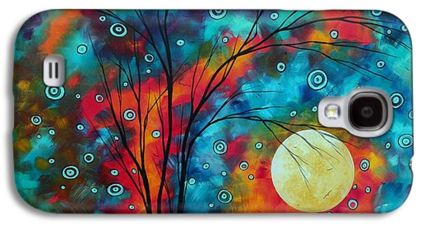 Moon Paintings Galaxy S4 Cases - Huge Colorful Abstract Landscape Art Circles Tree Original Painting DELIGHTFUL by MADART Galaxy S4 Case by Megan Duncanson