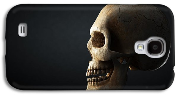 Horizontal Digital Art Galaxy S4 Cases - Human skull profile on dark background Galaxy S4 Case by Johan Swanepoel