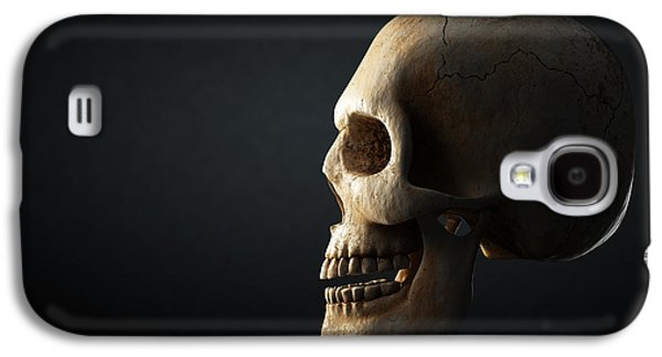Human Skull Profile On Dark Background Galaxy S4 Case by Johan Swanepoel
