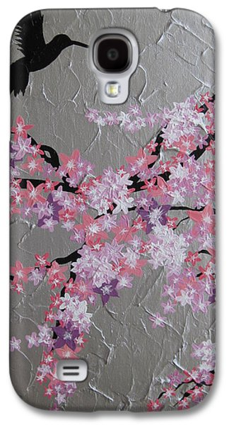 Little Girls Mixed Media Galaxy S4 Cases - Humming Bird With Cherry Blossom Galaxy S4 Case by Cathy Jacobs