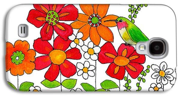 Hummingbird And Flowers Galaxy S4 Case by Blenda Studio