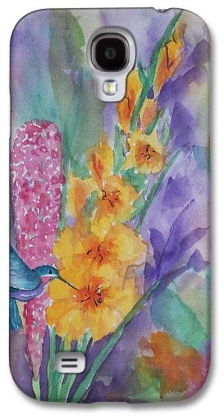 Gladiolas Paintings Galaxy S4 Cases - Hummingbird Heaven Galaxy S4 Case by Ellen Levinson