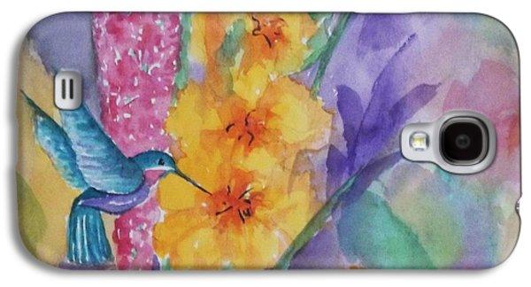 Gladiolas Paintings Galaxy S4 Cases - Hummingbird Heaven - Square Galaxy S4 Case by Ellen Levinson