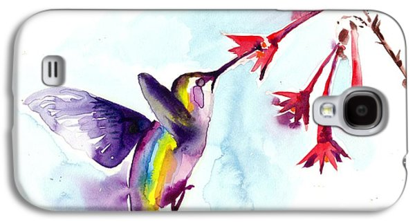 Het Paintings Galaxy S4 Cases - Hummingbird in Red Flowers Watercolor Galaxy S4 Case by Tiberiu Soos
