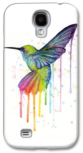 Print Mixed Media Galaxy S4 Cases - Hummingbird of Watercolor Rainbow Galaxy S4 Case by Olga Shvartsur
