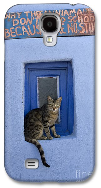 Gray Tabby Galaxy S4 Cases - Humorous Cat Sign Galaxy S4 Case by Jean-Louis Klein and Marie-Luce Hubert
