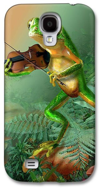 Nature Scene Digital Art Galaxy S4 Cases - Humorous Tree Frog Playing a Fiddle Galaxy S4 Case by Gina Femrite