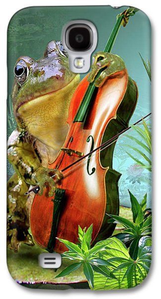 Nature Scene Digital Art Galaxy S4 Cases - Humorous scene frog playing cello in lily pond Galaxy S4 Case by Gina Femrite
