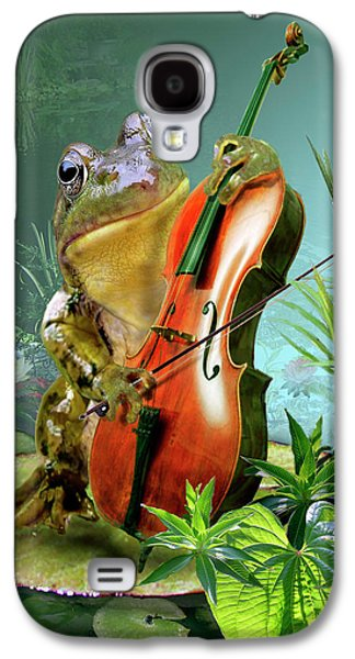 Humorous Greeting Cards Galaxy S4 Cases - Humorous scene frog playing cello in lily pond Galaxy S4 Case by Gina Femrite