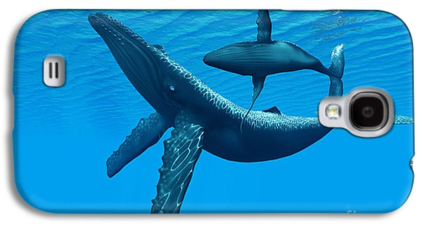 Whale Digital Art Galaxy S4 Cases - Humpback Whale Bonding Galaxy S4 Case by Corey Ford