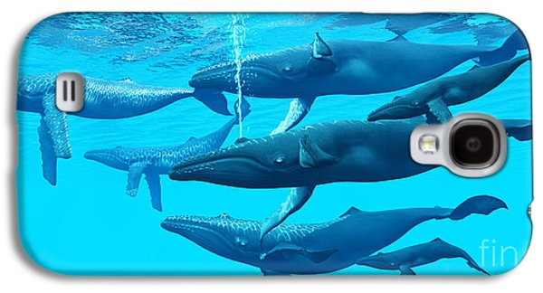 Whale Digital Art Galaxy S4 Cases - Humpback Whale Group Galaxy S4 Case by Corey Ford