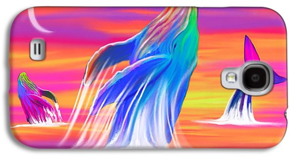 Whale Digital Art Galaxy S4 Cases - Humpback Whales Sunset Galaxy S4 Case by Nick Gustafson