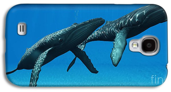 Whale Digital Art Galaxy S4 Cases - Humpback Whales Surfacing Galaxy S4 Case by Corey Ford