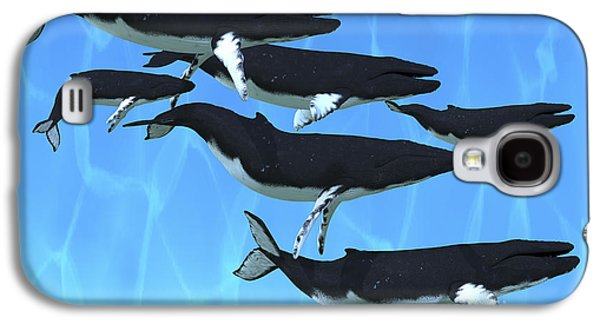 Whale Digital Art Galaxy S4 Cases - Humpback Whales Swim Together Galaxy S4 Case by Corey Ford