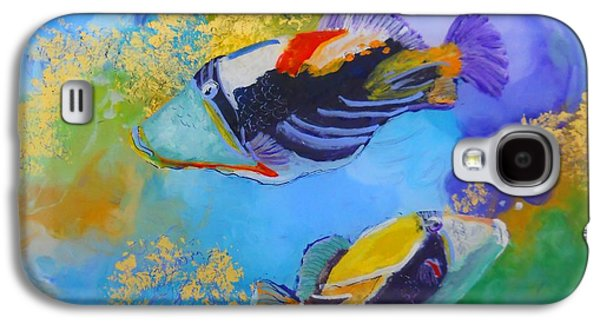 Triggerfish Paintings Galaxy S4 Cases - Humuhumu Galaxy S4 Case by Marionette Taboniar