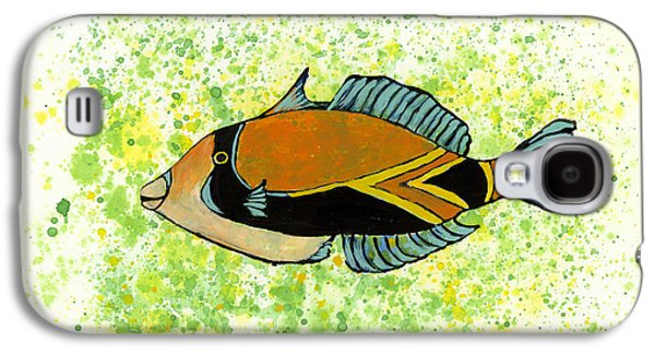 Triggerfish Paintings Galaxy S4 Cases - Humuhumunukunukuapua A Galaxy S4 Case by Darice Machel McGuire