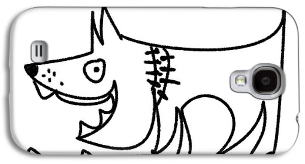 Puppies Digital Art Galaxy S4 Cases - Hungry dog Galaxy S4 Case by Chani Demuijlder
