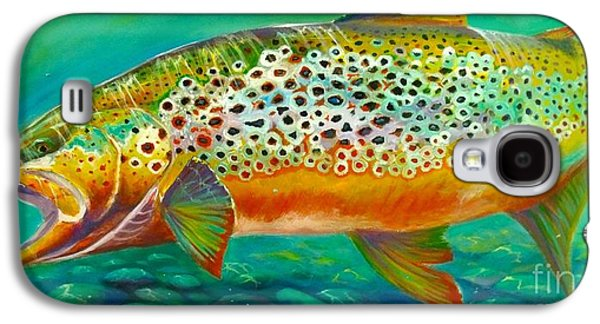 Salmon Paintings Galaxy S4 Cases - Hungry Spots Galaxy S4 Case by Yusniel Santos