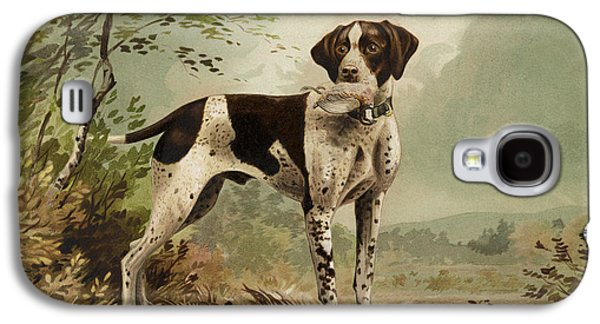 Puppy Drawings Galaxy S4 Cases - Hunting Dog circa 1879 Galaxy S4 Case by Aged Pixel