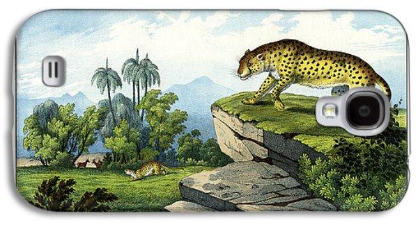 Cheetah Drawings Galaxy S4 Cases - Hunting Leopard Galaxy S4 Case by Splendid Art Prints