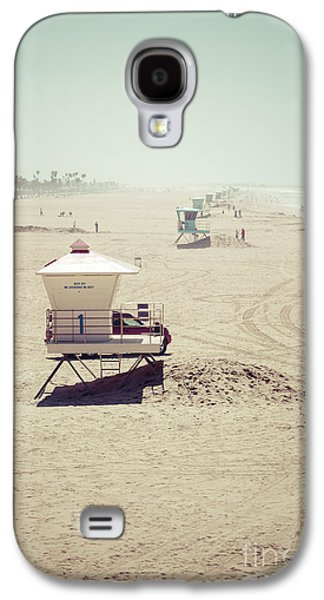 Beach Photography Galaxy S4 Cases - Huntington Beach Lifeguard Tower #1 Vintage Picture Galaxy S4 Case by Paul Velgos