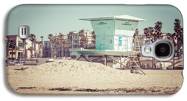 Beach Photography Galaxy S4 Cases - Huntington Beach Lifeguard Tower #5 Retro Picture Galaxy S4 Case by Paul Velgos