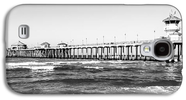 Pacific Ocean Prints Galaxy S4 Cases - Huntington Beach Pier Black and White Panorama Galaxy S4 Case by Paul Velgos