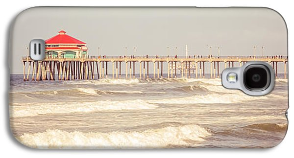 Pacific Ocean Prints Galaxy S4 Cases - Huntington Beach Pier Retro Panoramic Picture Galaxy S4 Case by Paul Velgos