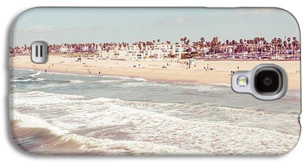 California Beach Art Galaxy S4 Cases - Huntington Beach Retro Panorama Photo Galaxy S4 Case by Paul Velgos
