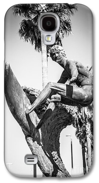 California Beach Art Galaxy S4 Cases - Huntington Beach Surfer Statue Black and White Picture Galaxy S4 Case by Paul Velgos