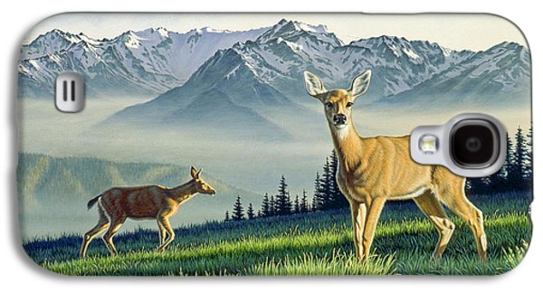 National Park Paintings Galaxy S4 Cases - Hurricane Ridge-Blacktails Galaxy S4 Case by Paul Krapf