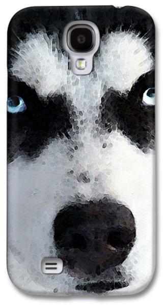 Sledding Galaxy S4 Cases - Husky Dog Art - Bat Man Galaxy S4 Case by Sharon Cummings