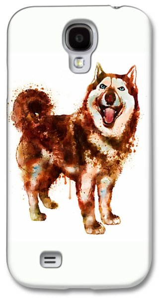 Breed Digital Galaxy S4 Cases - Husky Dog watercolor Galaxy S4 Case by Marian Voicu