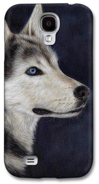 Husky Portrait Painting Galaxy S4 Case by Rachel Stribbling