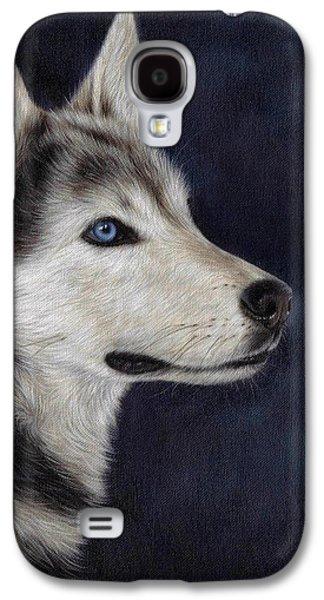 Husky Galaxy S4 Cases - Husky Portrait Painting Galaxy S4 Case by Rachel Stribbling