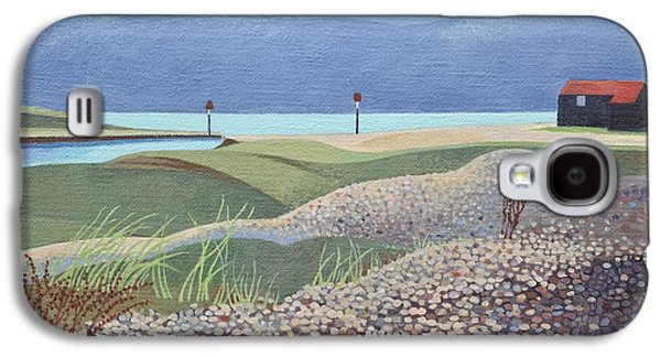 Shed Galaxy S4 Cases - Hut, Rye Harbour Acrylic On Canvas Galaxy S4 Case by Anna Teasdale