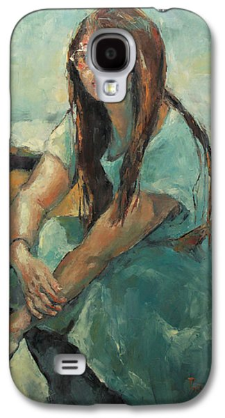 Becky Kim Painter Galaxy S4 Cases - Hwasun in Blue Dress Galaxy S4 Case by Becky Kim