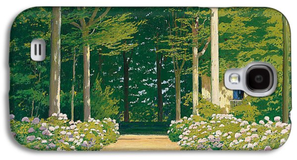 Pathways Paintings Galaxy S4 Cases - Hydrangeas on a Garden Path Galaxy S4 Case by Santiago Rusinol i Prats