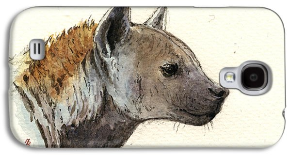Nature Study Paintings Galaxy S4 Cases - Hyena head study Galaxy S4 Case by Juan  Bosco