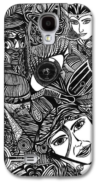 Abstract Collage Drawings Galaxy S4 Cases - Hypnotizing Beauty Queens Galaxy S4 Case by Jesse Colton
