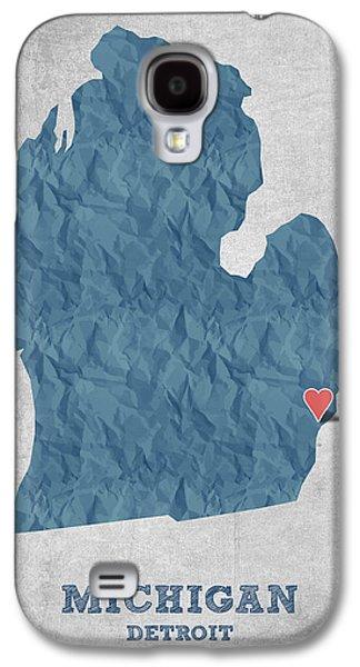 Detroit Digital Galaxy S4 Cases - I love Detroit Michigan - Blue Galaxy S4 Case by Aged Pixel
