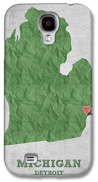Detroit Digital Galaxy S4 Cases - I love Detroit Michigan - Green Galaxy S4 Case by Aged Pixel