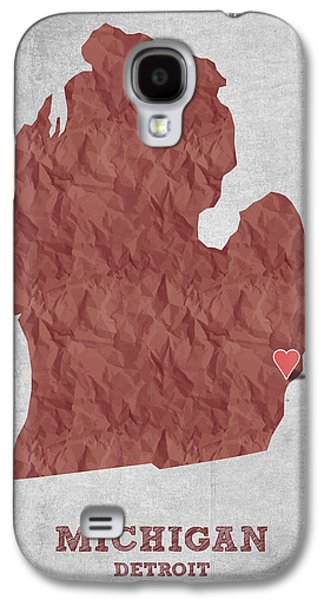 Detroit Digital Galaxy S4 Cases - I love Detroit Michigan - Red Galaxy S4 Case by Aged Pixel