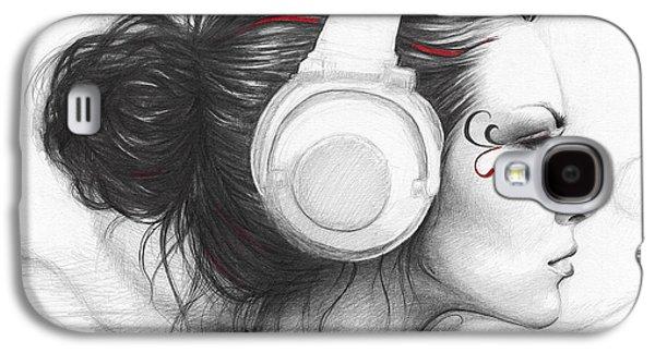 Graphite Galaxy S4 Cases - I Love Music Galaxy S4 Case by Olga Shvartsur