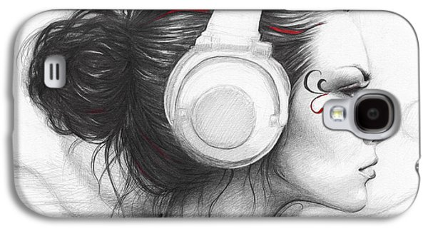 Color Drawings Galaxy S4 Cases - I Love Music Galaxy S4 Case by Olga Shvartsur