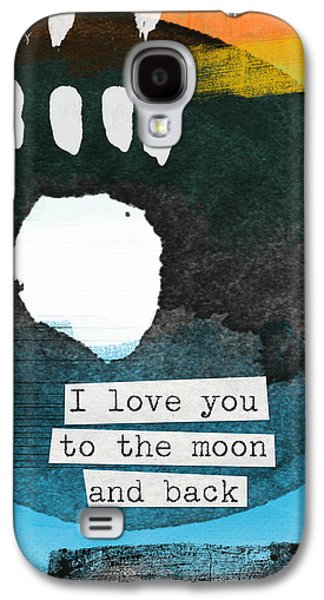 Colorful Abstract Mixed Media Galaxy S4 Cases - I Love You To The Moon And Back- abstract art Galaxy S4 Case by Linda Woods