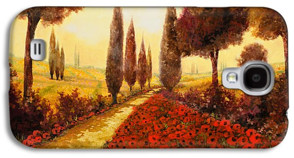 Field Paintings Galaxy S4 Cases - I Papaveri In Estate Galaxy S4 Case by Guido Borelli