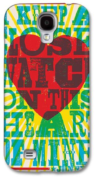 Western Digital Art Galaxy S4 Cases - I Walk The Line - Johnny Cash Lyric Poster Galaxy S4 Case by Jim Zahniser