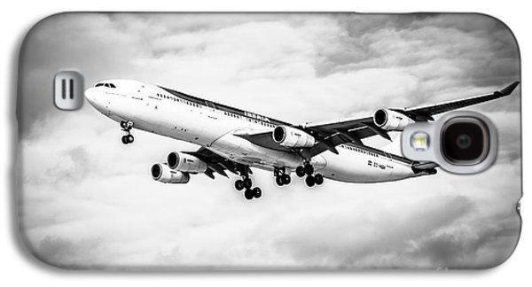 Iberia Airlines Airbus A340 Airplane In Black And White Galaxy S4 Case by Paul Velgos