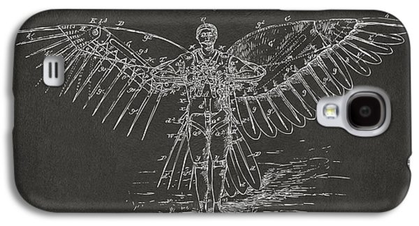 Icarus Flying Machine Patent Artwork Gray Galaxy S4 Case by Nikki Marie Smith